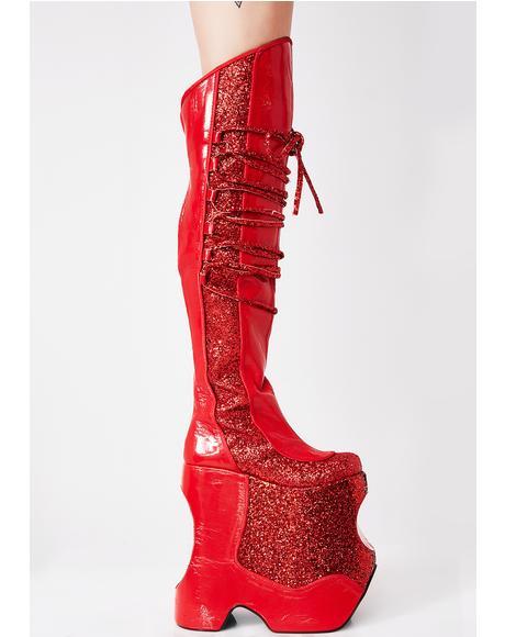 Scarlet Devious Fabulous Platform Boots