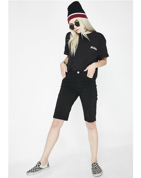 Mid Rise Stretch Bermuda Shorts