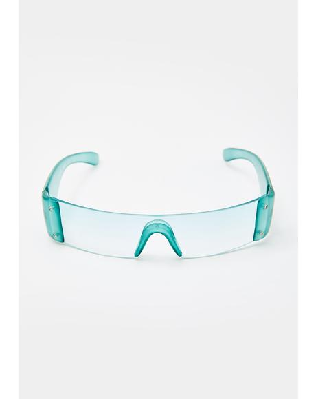 Green Slim Shield Sunglasses