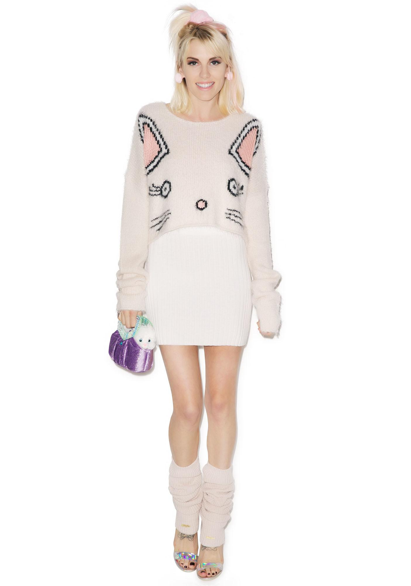 Wildfox Couture Fuzzy Baby Cropped Billy Sweater