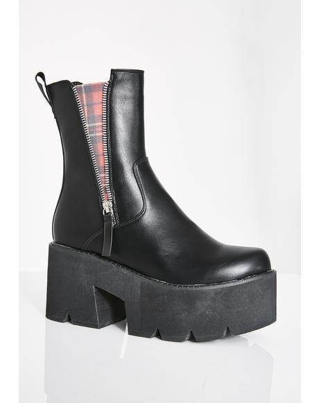 Plaid Ain't Trippin' Platform Boots