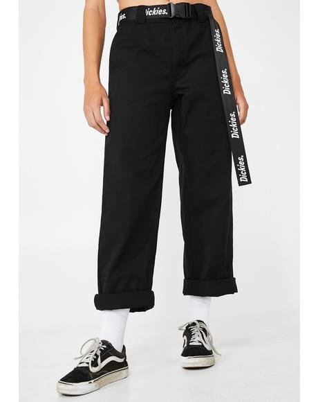 Work Crop Roll Hem Pants With Logo Belt