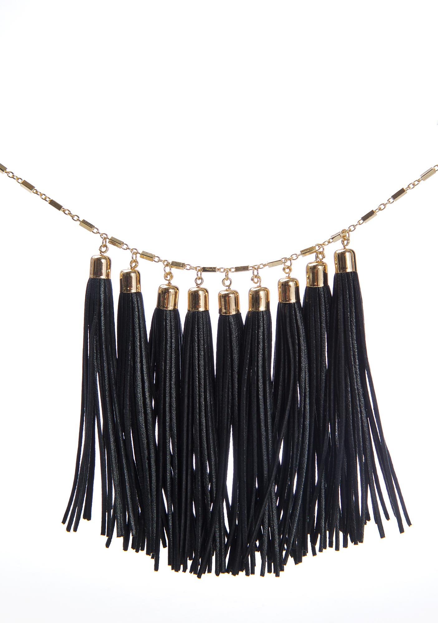 Black Magnolia Tassel Necklace