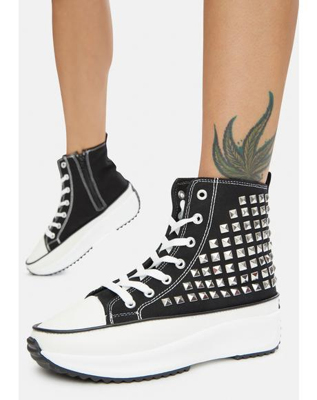 Night Good Lookin' Studded Hi Top Sneakers