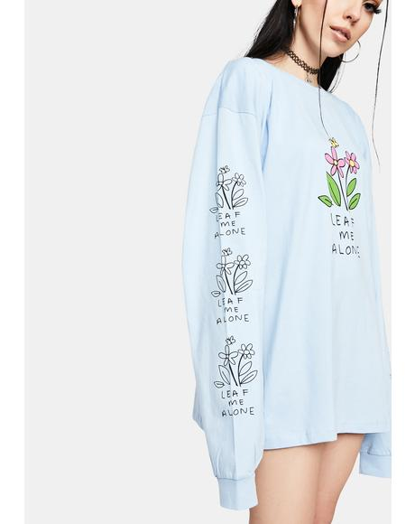 Blue Leaf Me Alone Graphic Tee