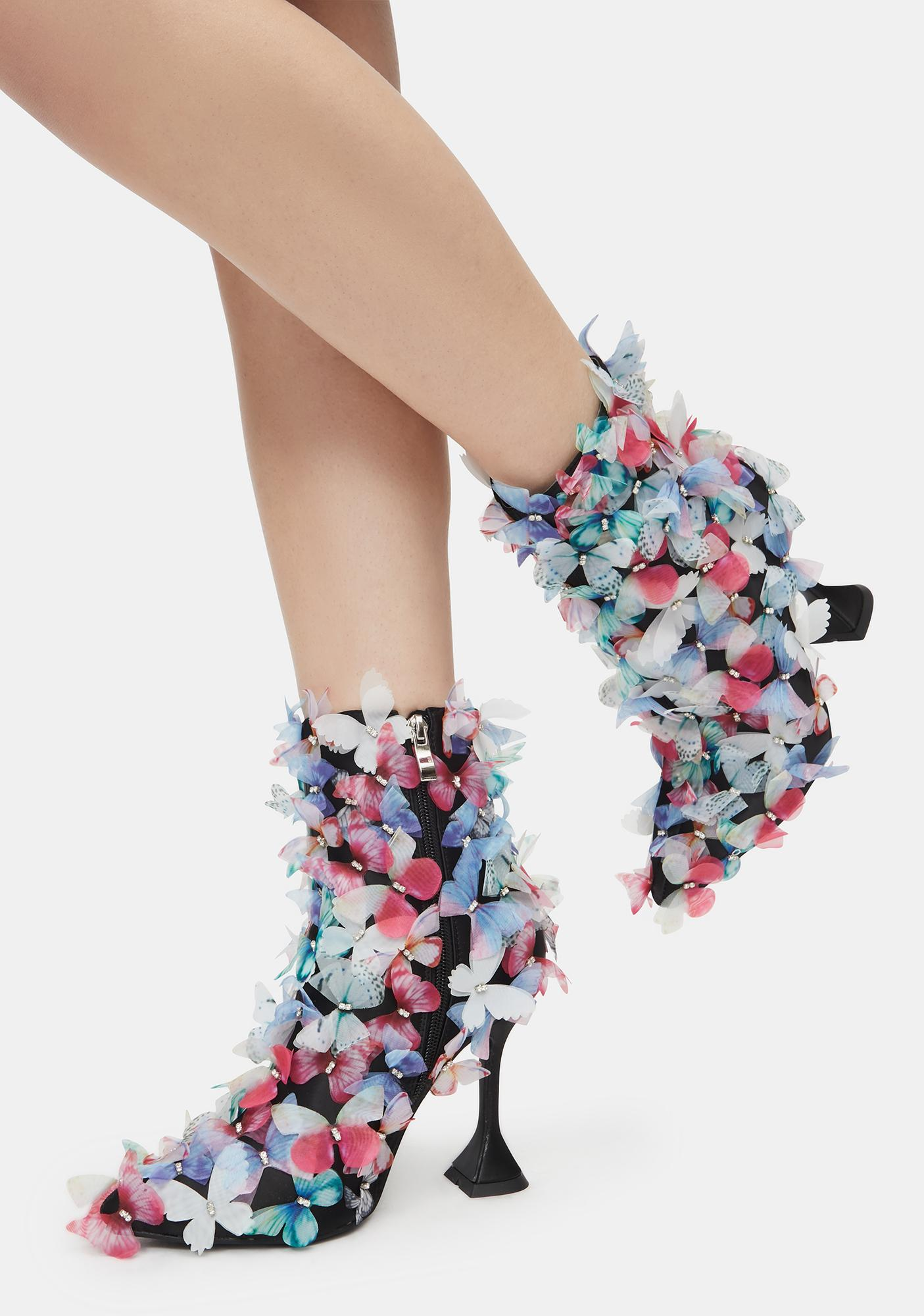 AZALEA WANG Multicolor Butterfly Booties