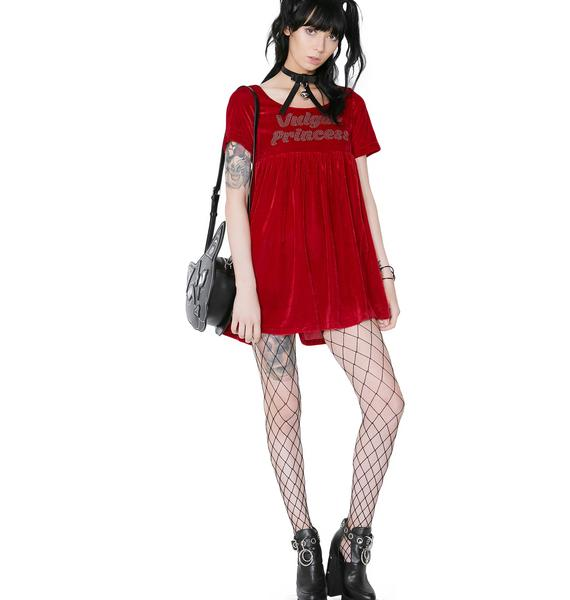 O Mighty Vulgar Princess Velvet Babydoll Dress