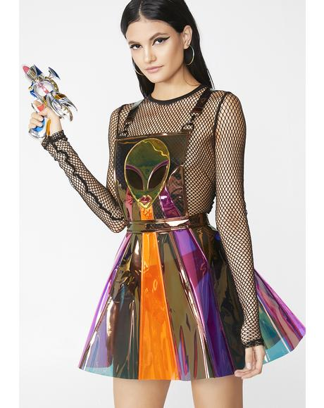 Beam Me Up Hologram Overall Dress