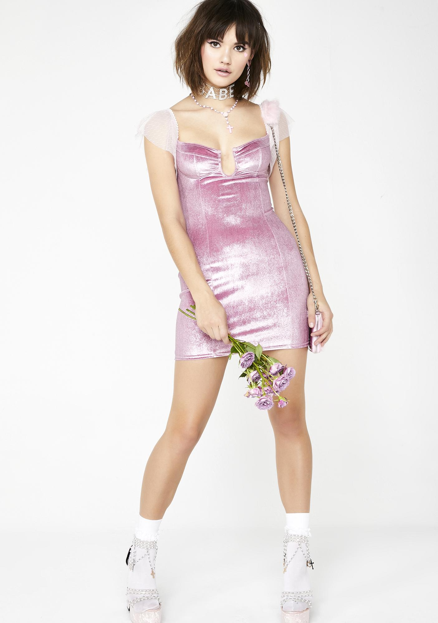 Sugar Thrillz Rose Dew Velvet Dress