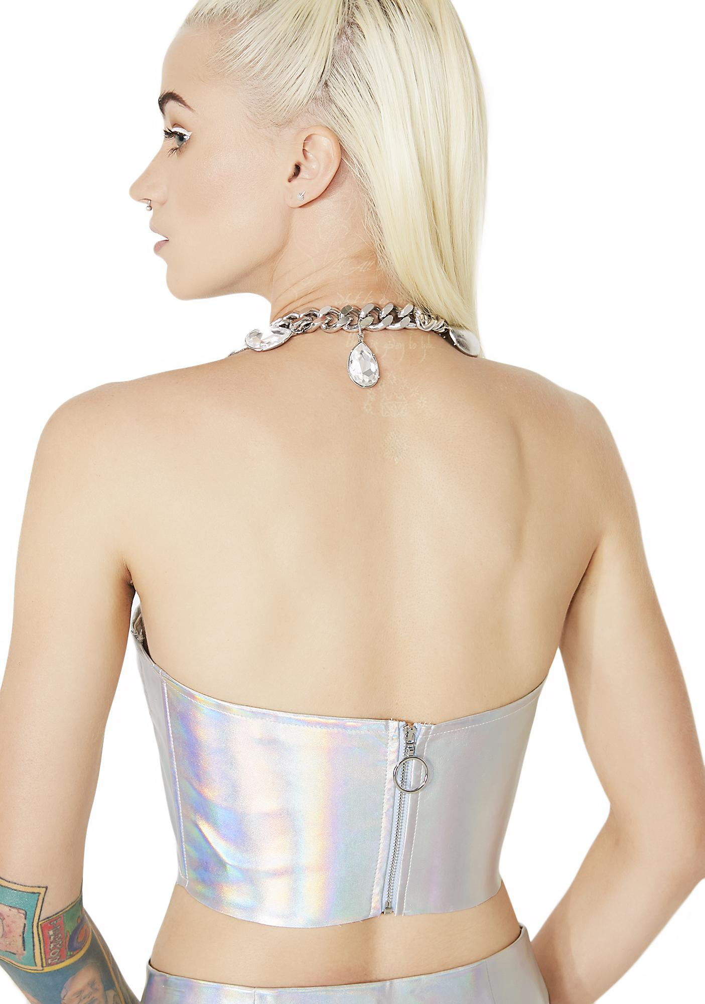 Silver Supernova Girl Metallic Bustier