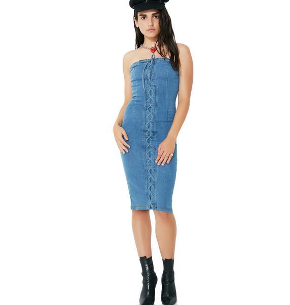 Strung Up Denim Dress