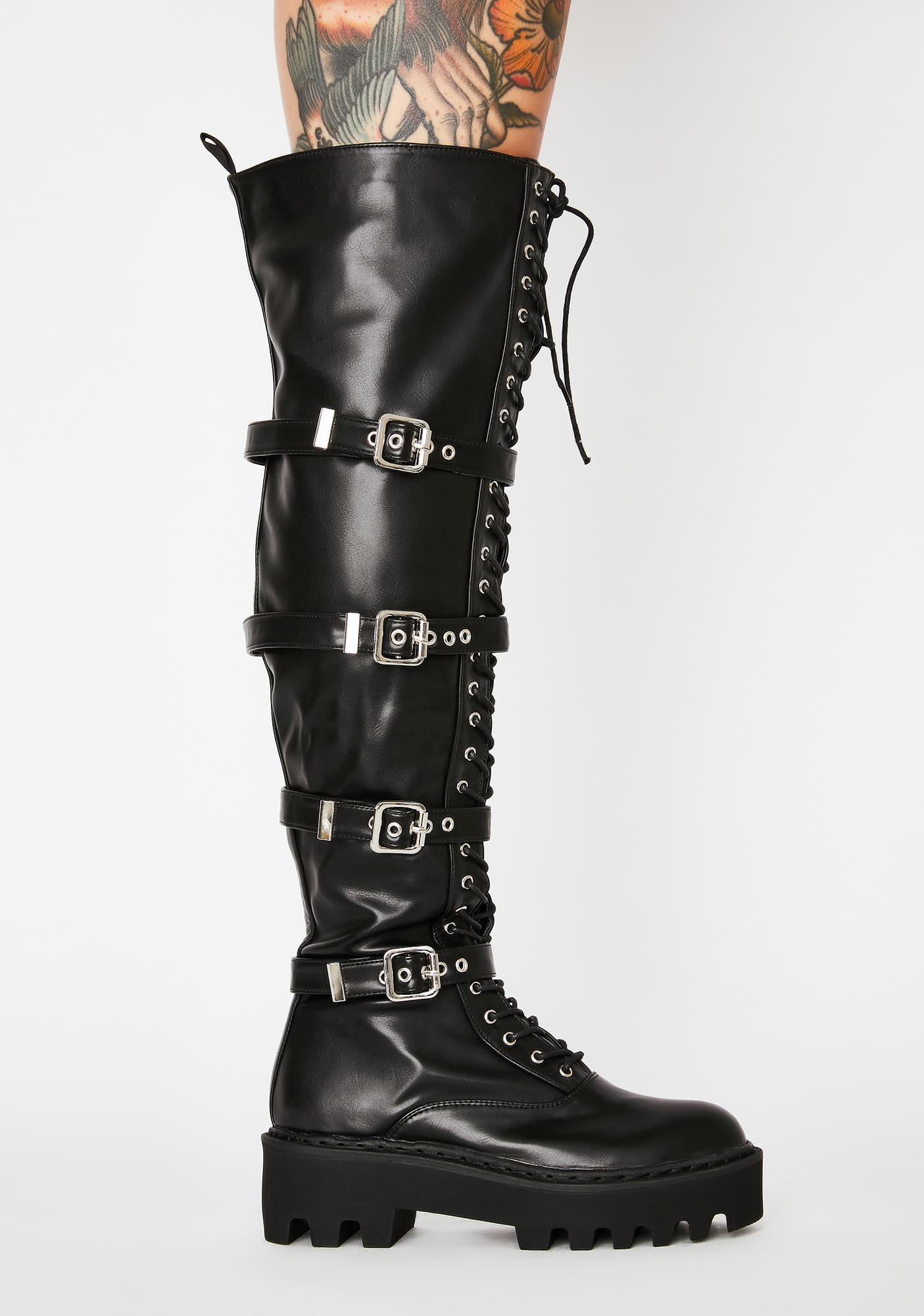 Lamoda Buckle Up Knee High Boots