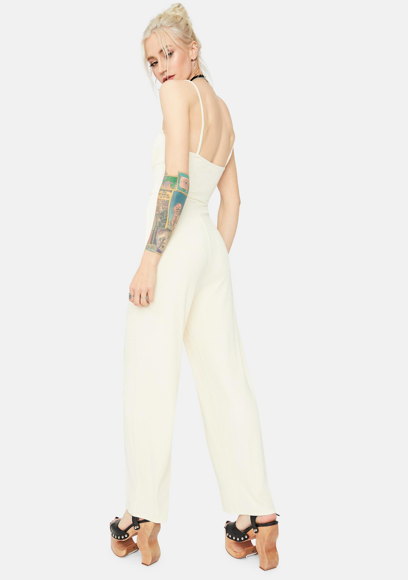 Blanc Ready Or Not Ribbed Tie Front Jumpsuit