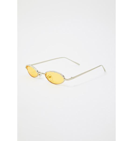 Caution Crushin It Rhinestone Sunglasses
