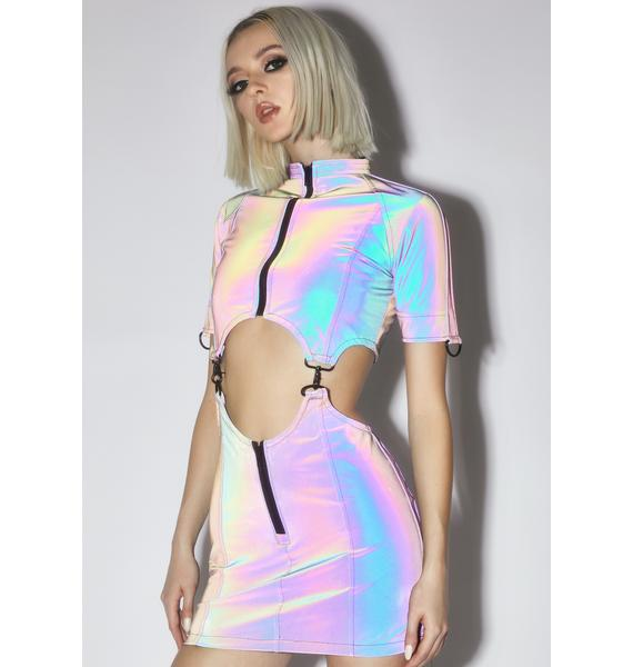Strange Couture Plan 9 Rainbow Reflective Dress