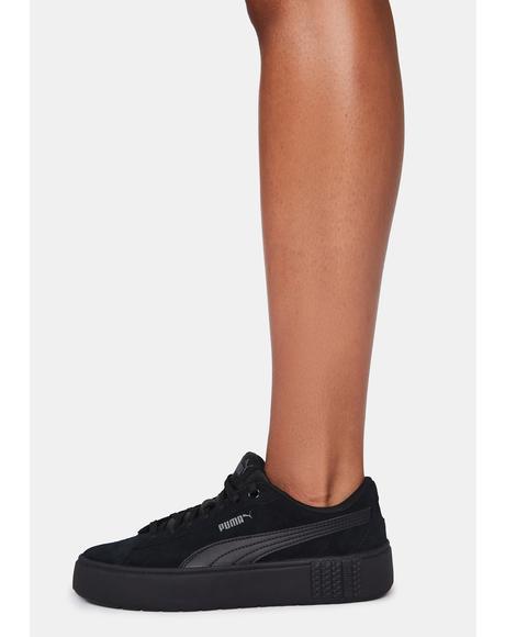 Black Smash Platform V2 Leather Sneakers