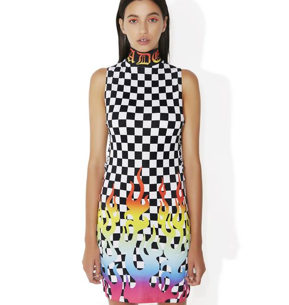Jaded London Rainbow Flame Lace-Up Mini Dress