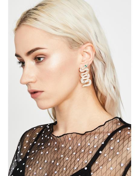 Clearly Bitten By Badness Snake Earrings