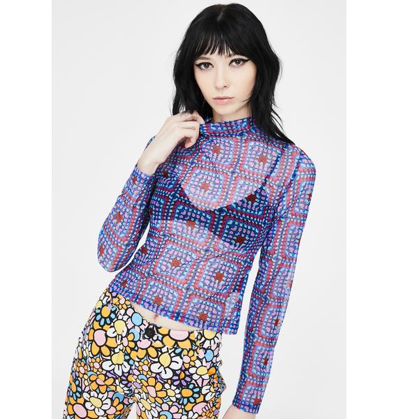 Lazy Oaf Crochet Mesh Long Sleeve Tee