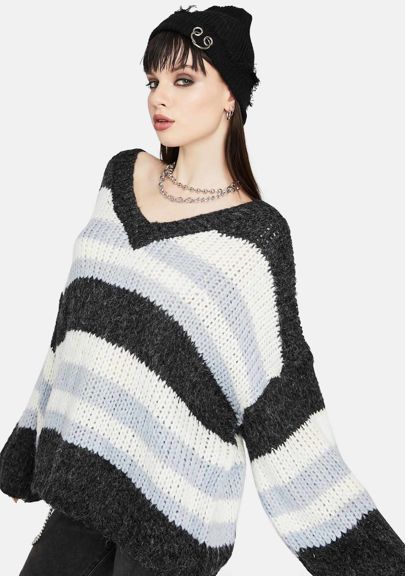 Charcoal Sage Serenity V-Neck Sweater