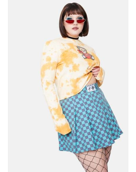Curve Teal Checkboard Skirt