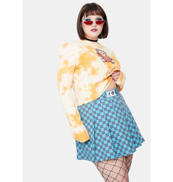 NEW GIRL ORDER Curve Teal Checkboard Skirt
