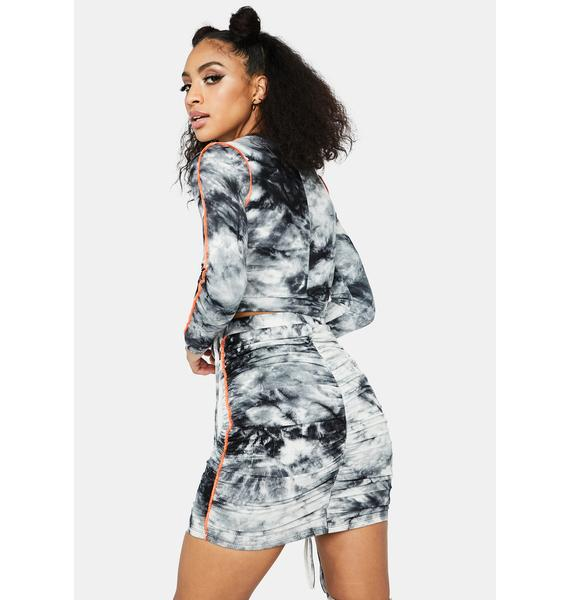 Holy Smokes Tie Dye Contrast Stitch Skirt Set