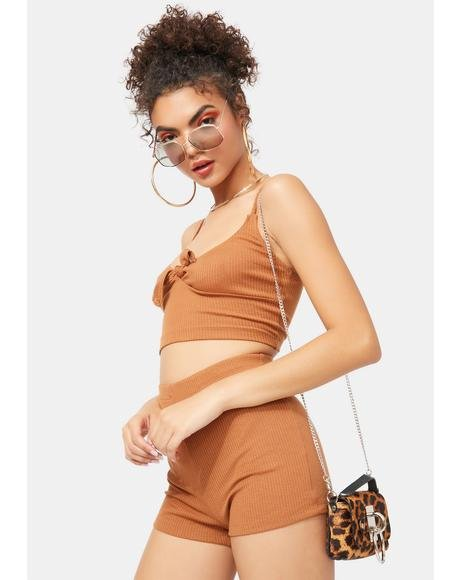 Copper Kisses Ribbed Shorts Set