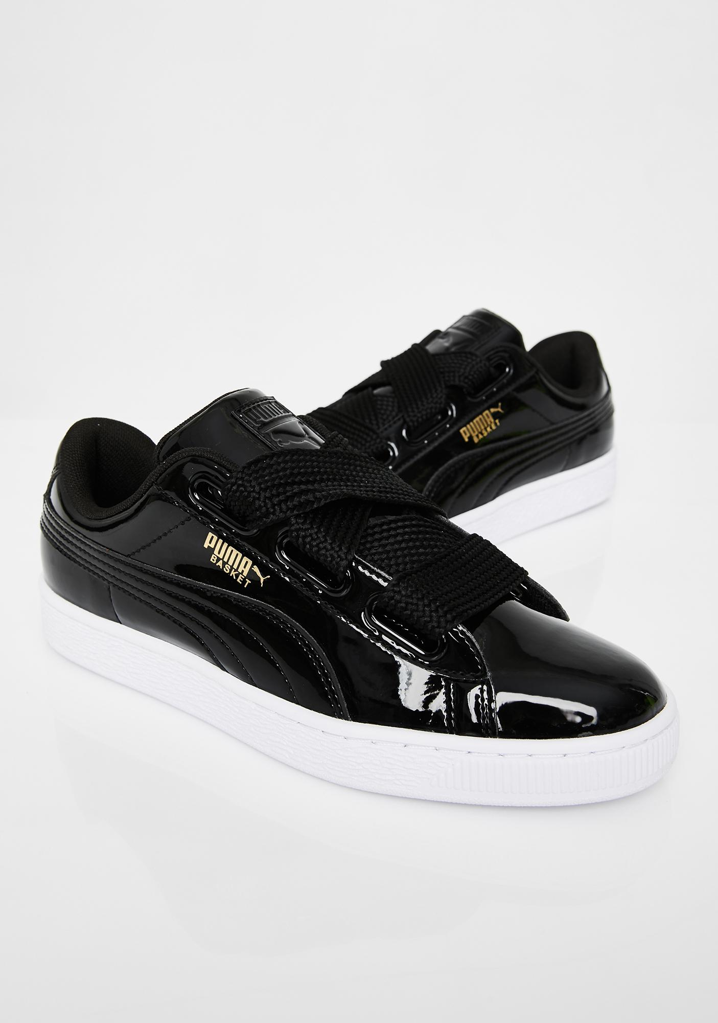 PUMA Midnight Basket Heart Patent Sneakers