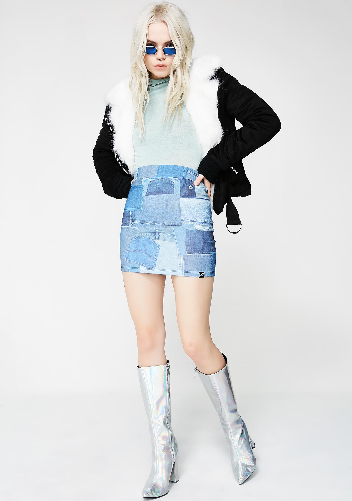 Illustrated People Patchwork Denim Mini Skirt