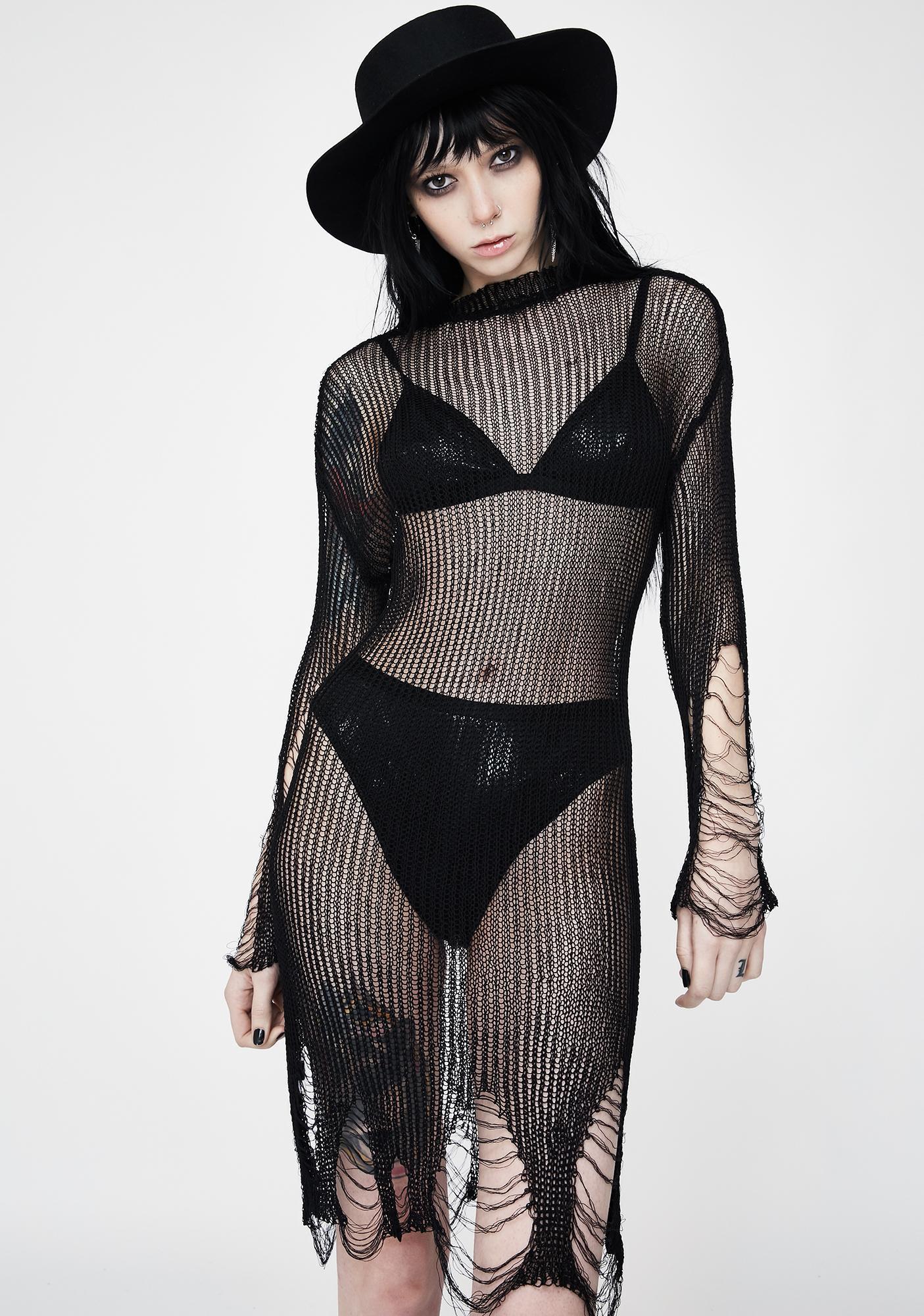 Punk Rave Distressed Mini Sweater Dress