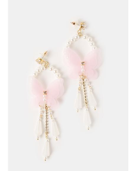 Pixie Fairytale Life Butterfly Pearl Drop Earrings