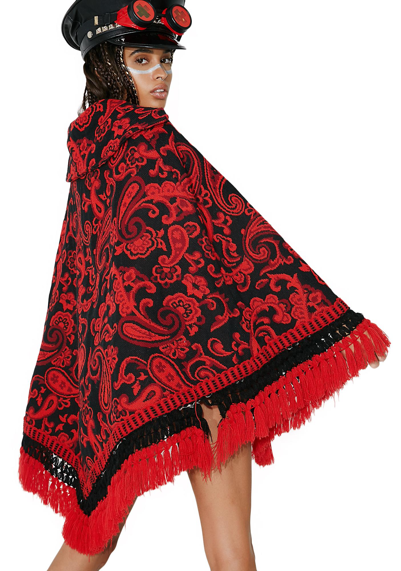 Vintage Floral Tapestry Poncho