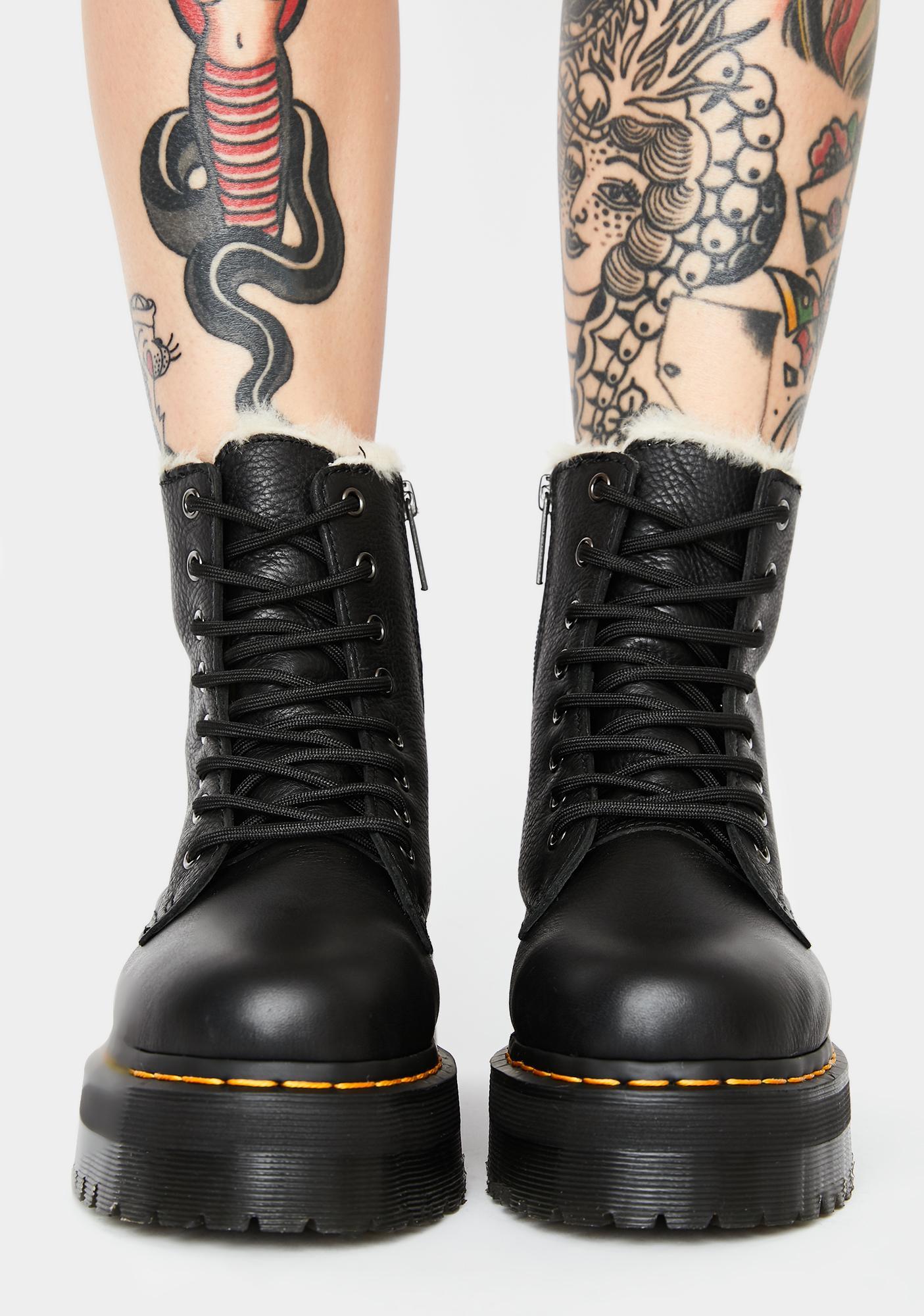 Dr. Martens Fur-Lined Jadon 8 Eye Boots