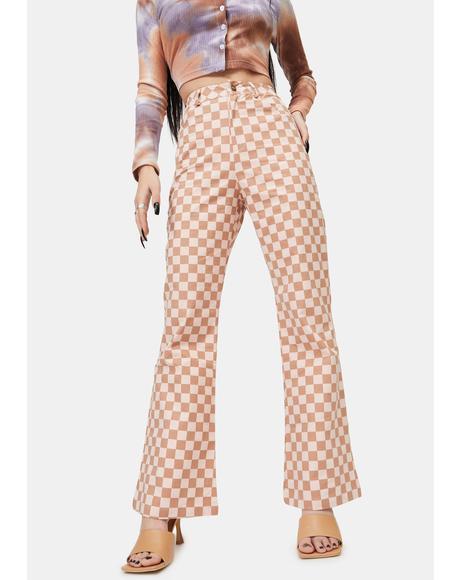 Pink Checker Print Pants