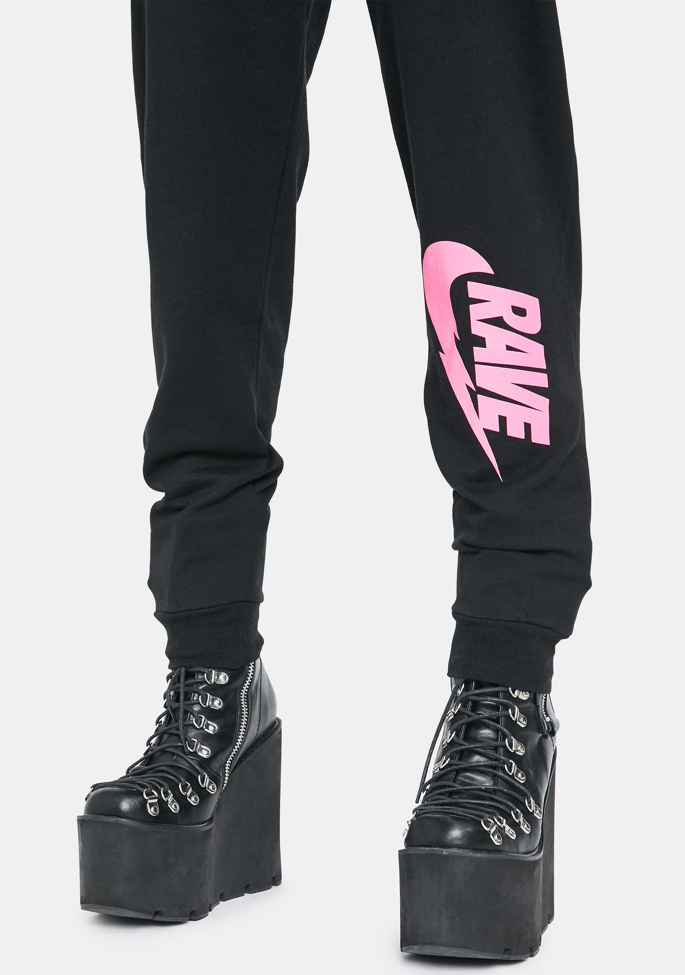 NEW FTR LDN Illegal Rave Pink Print Sweatpants