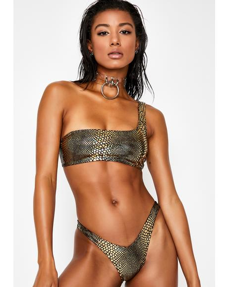 Metallic Serpent V-Front Bikini Bottoms