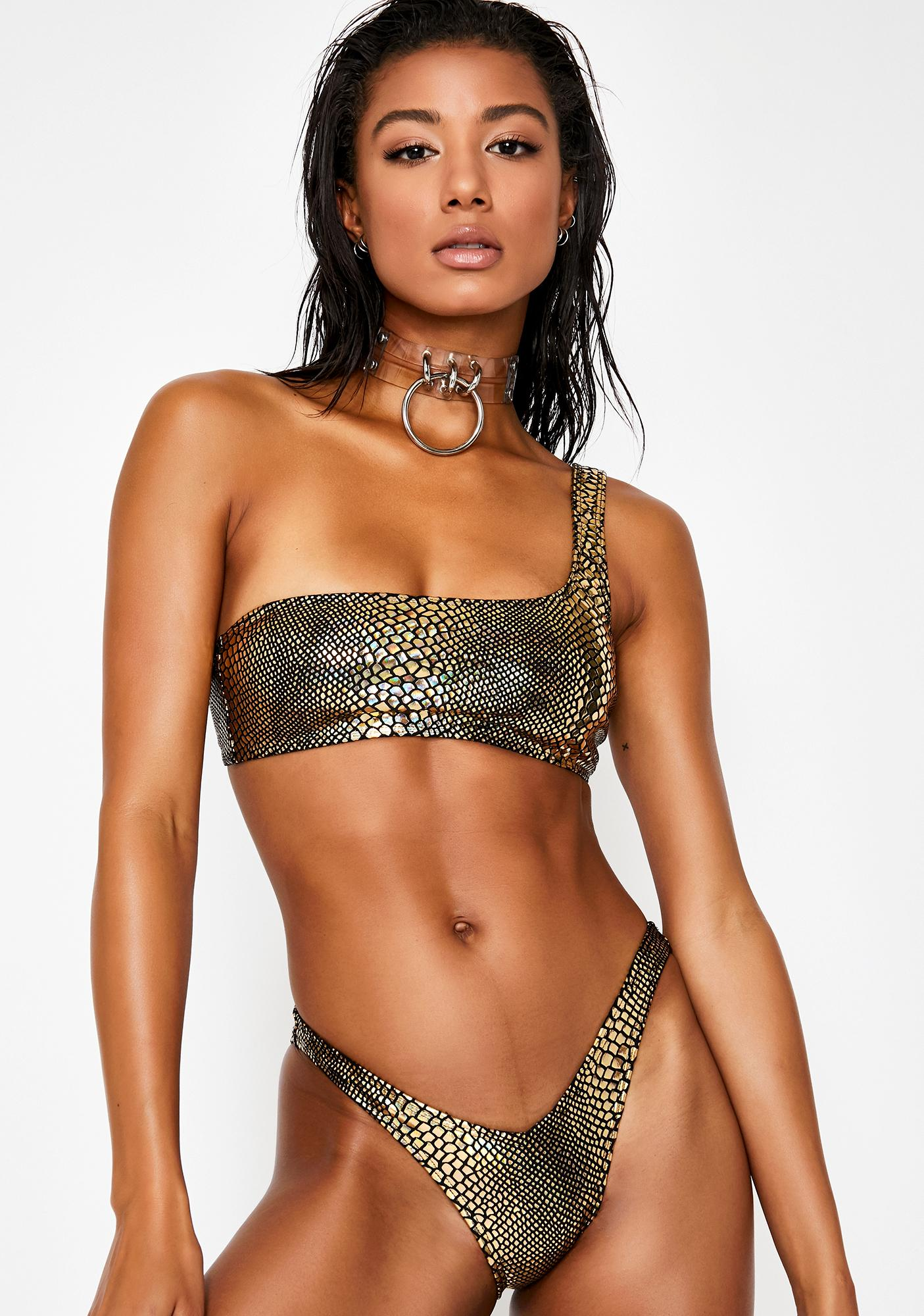 Jaded London Metallic Serpent V-Front Bikini Bottoms
