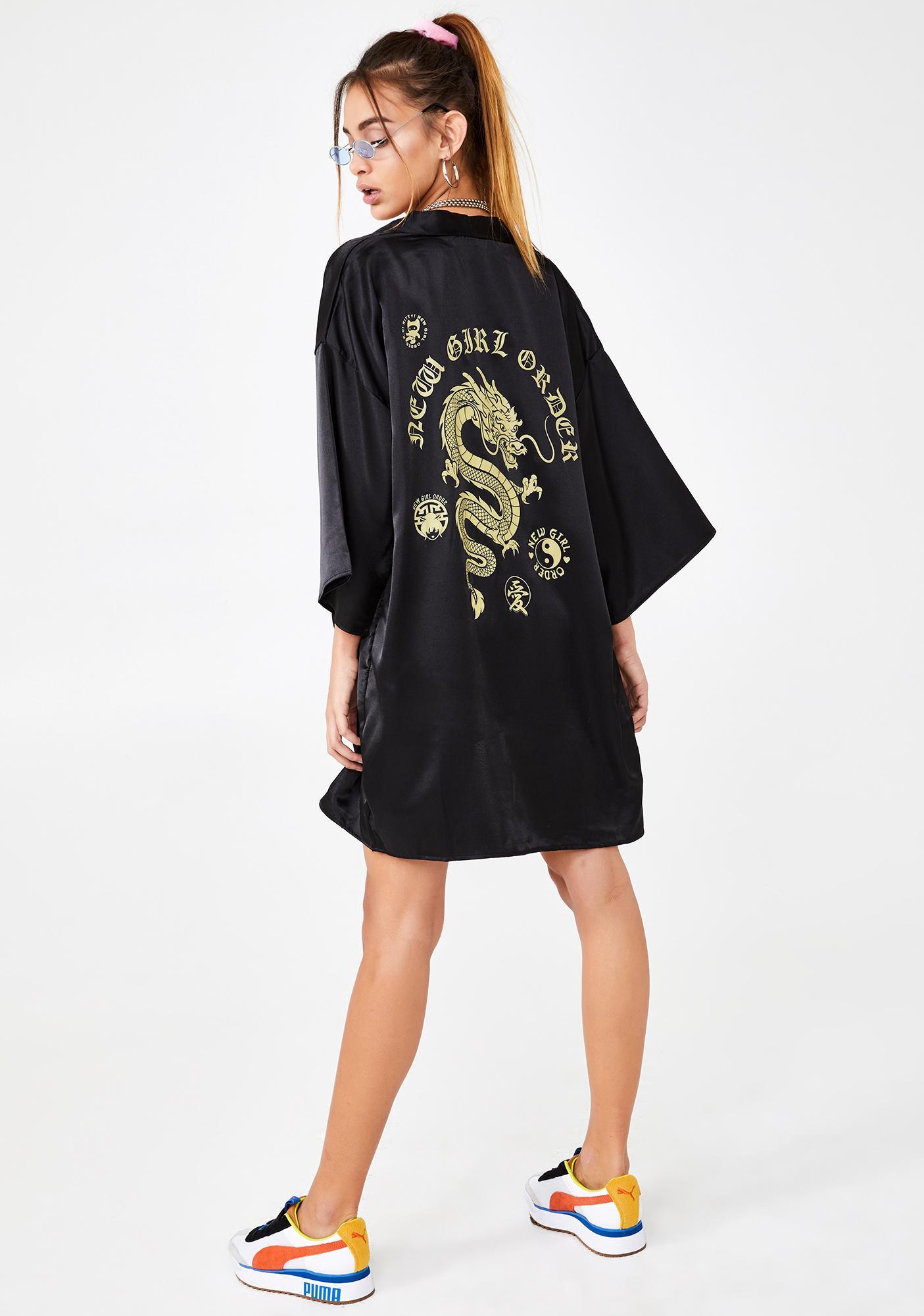 NEW GIRL ORDER Dragon Print Kimono