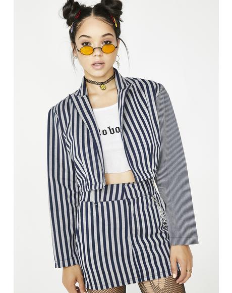 Work Stripes Cropped Blazer