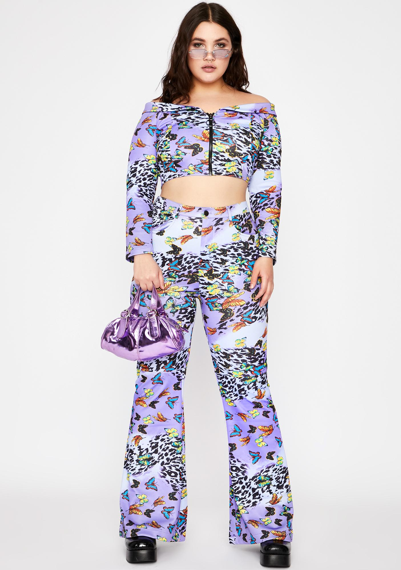 Lilac Her Wild Fusion Crop Top