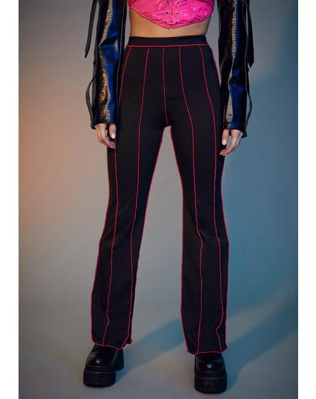 Fuchsia Livin' Reckless Contrast Stitch Pants