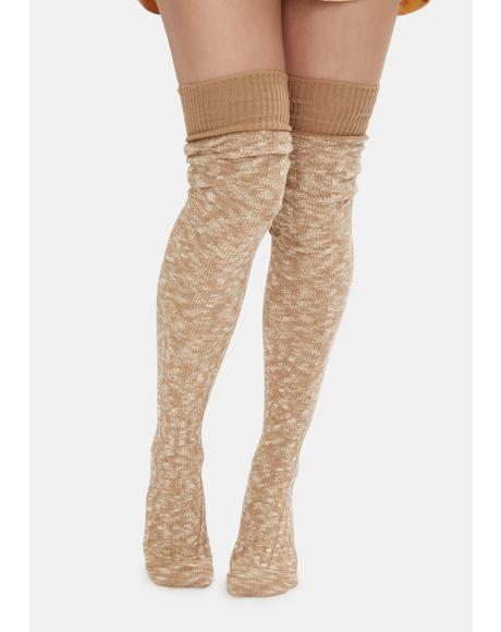 Gold Makes You Wonder Knitted Thigh High Socks