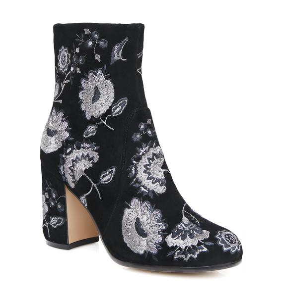 Silent D Waco Embroidered Floral Booties