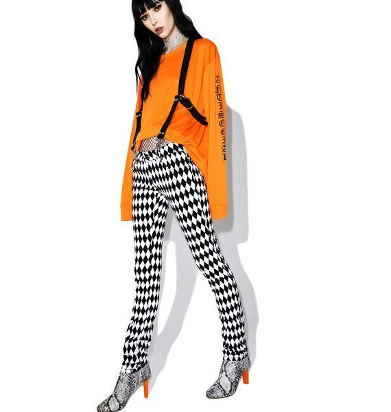 Tripp NYC White & Black Harlequin Skinny Jeans