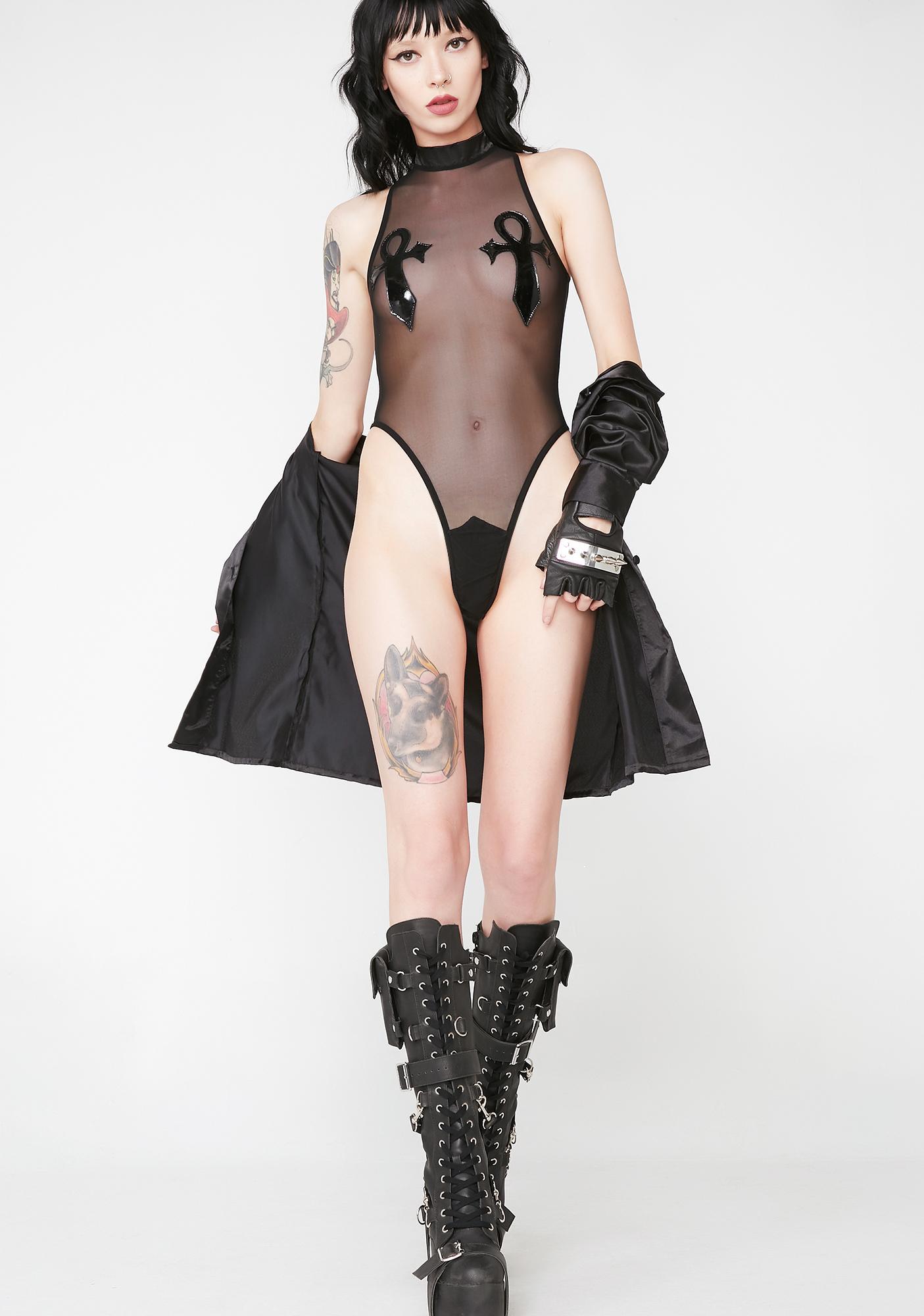 Widow Ankh Fishnet Bodysuit