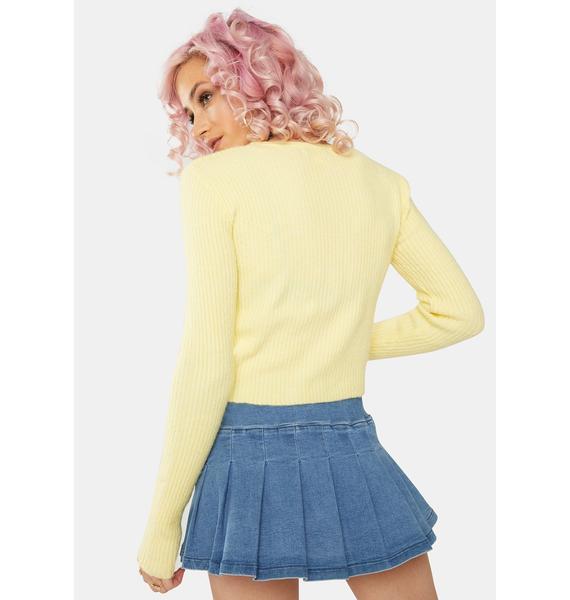 Daisy Street Yellow Textured Crop Cardigan