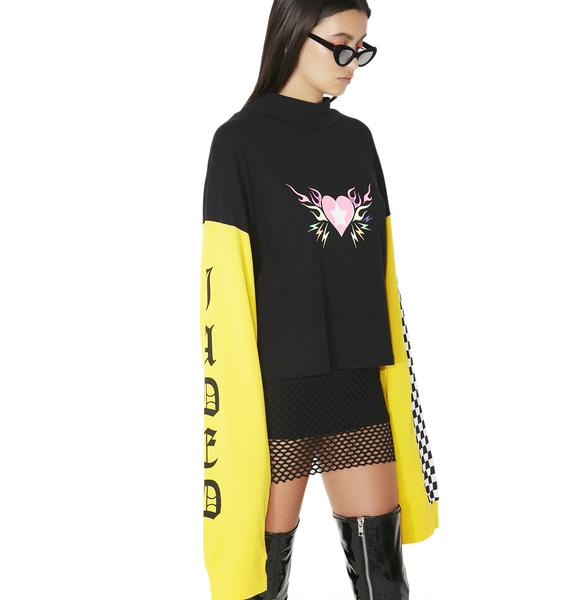 Jaded London Flame Heart Long Sleeve Tee