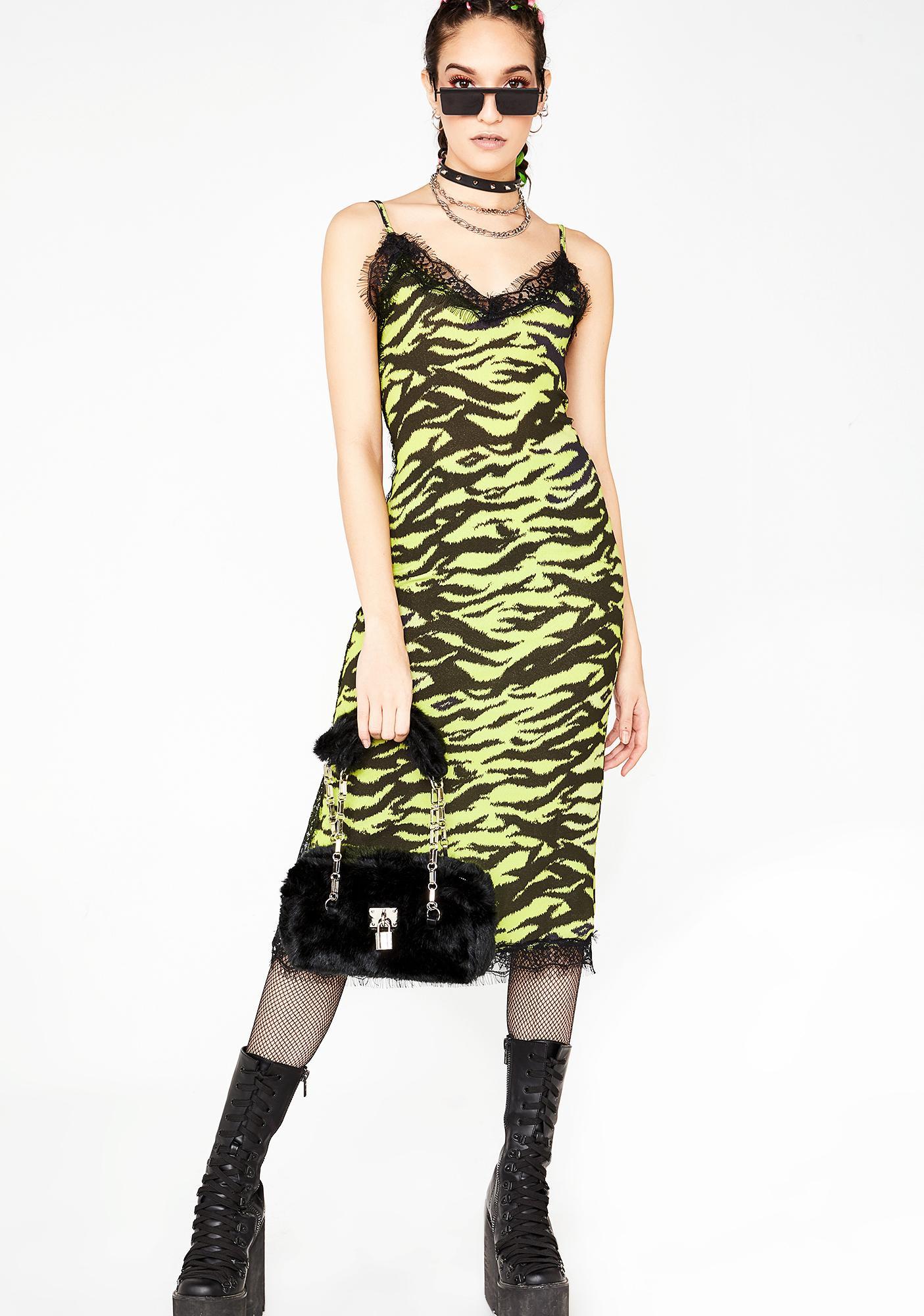 NEW GIRL ORDER Zebra Lace Slip Dress
