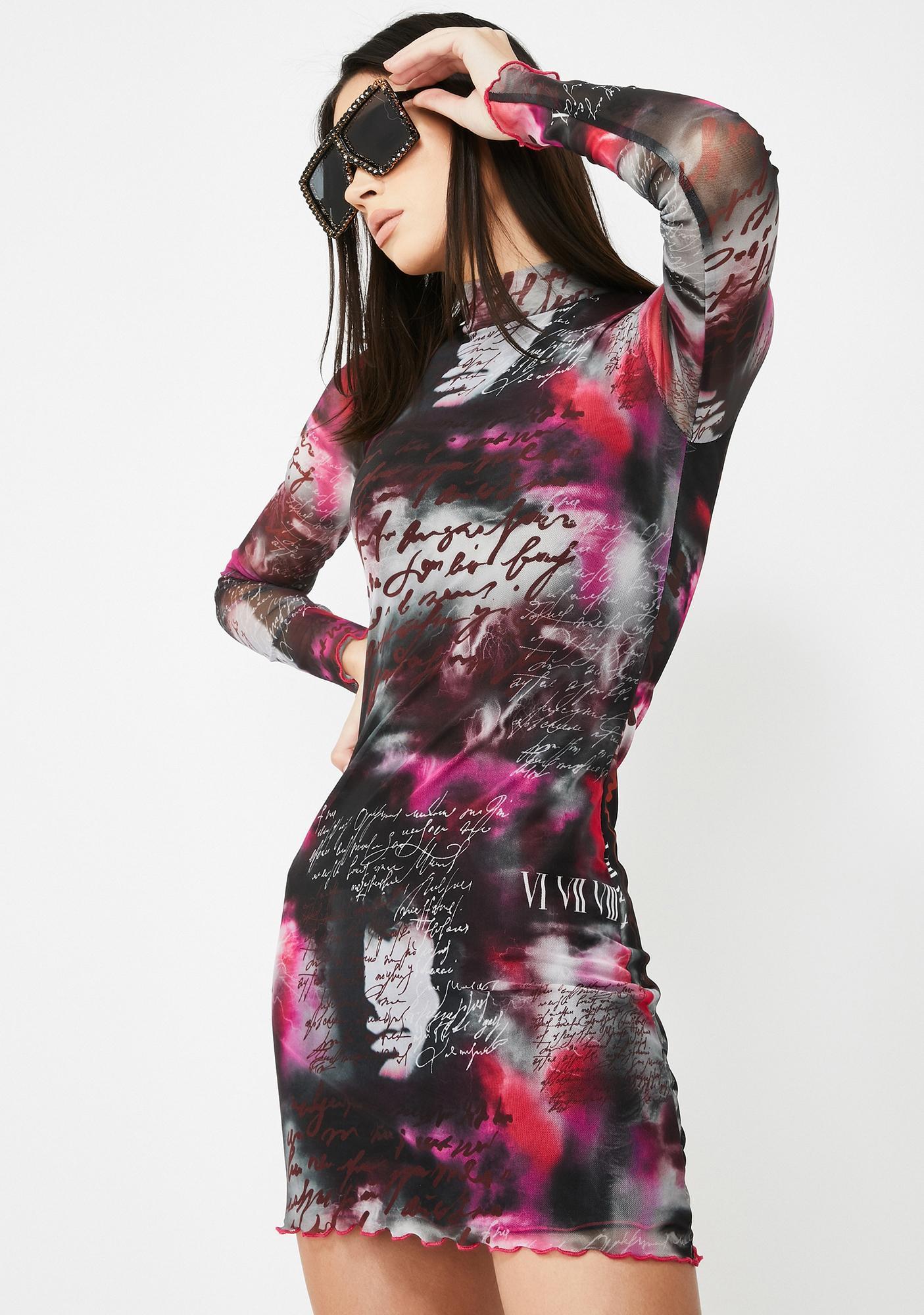 Jaded London Smokey Script Printed Mesh Mini Dress